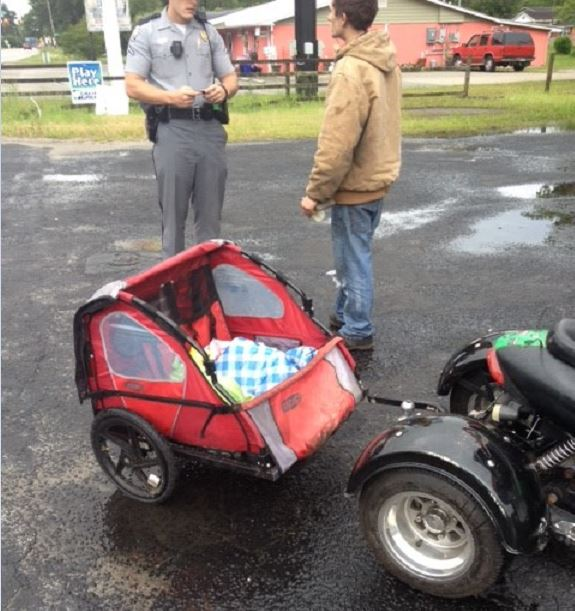 """An image of the baby """"carriage"""" attached to the moped. Image from Horry County Police"""