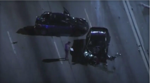 LAPD officer arrested after fiery freeway crash kills family