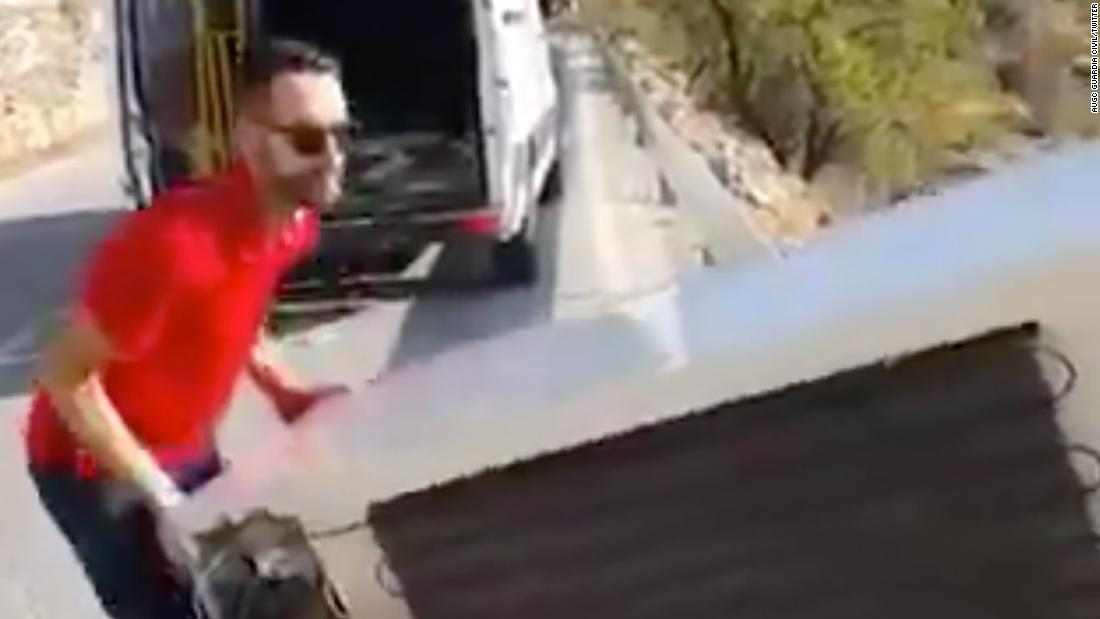 Man who threw fridge off Spanish cliff ordered to drag it back up